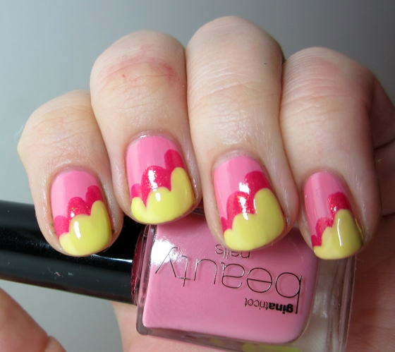 GinaTricot_PickMe_and_ChinaGlaze_StrawberryFields_and_SallyHansen_YellowKitty