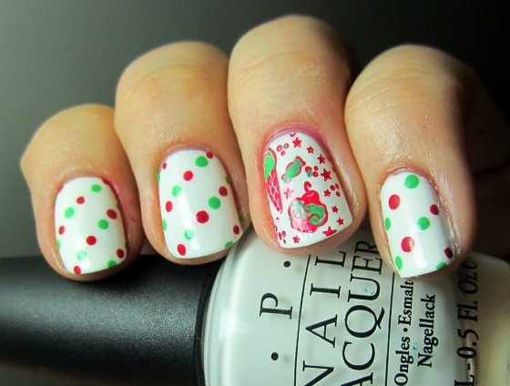 OPI_AlpineSnow_and_BarryM_Pomegranate_and_Essie_MojitoMadness2